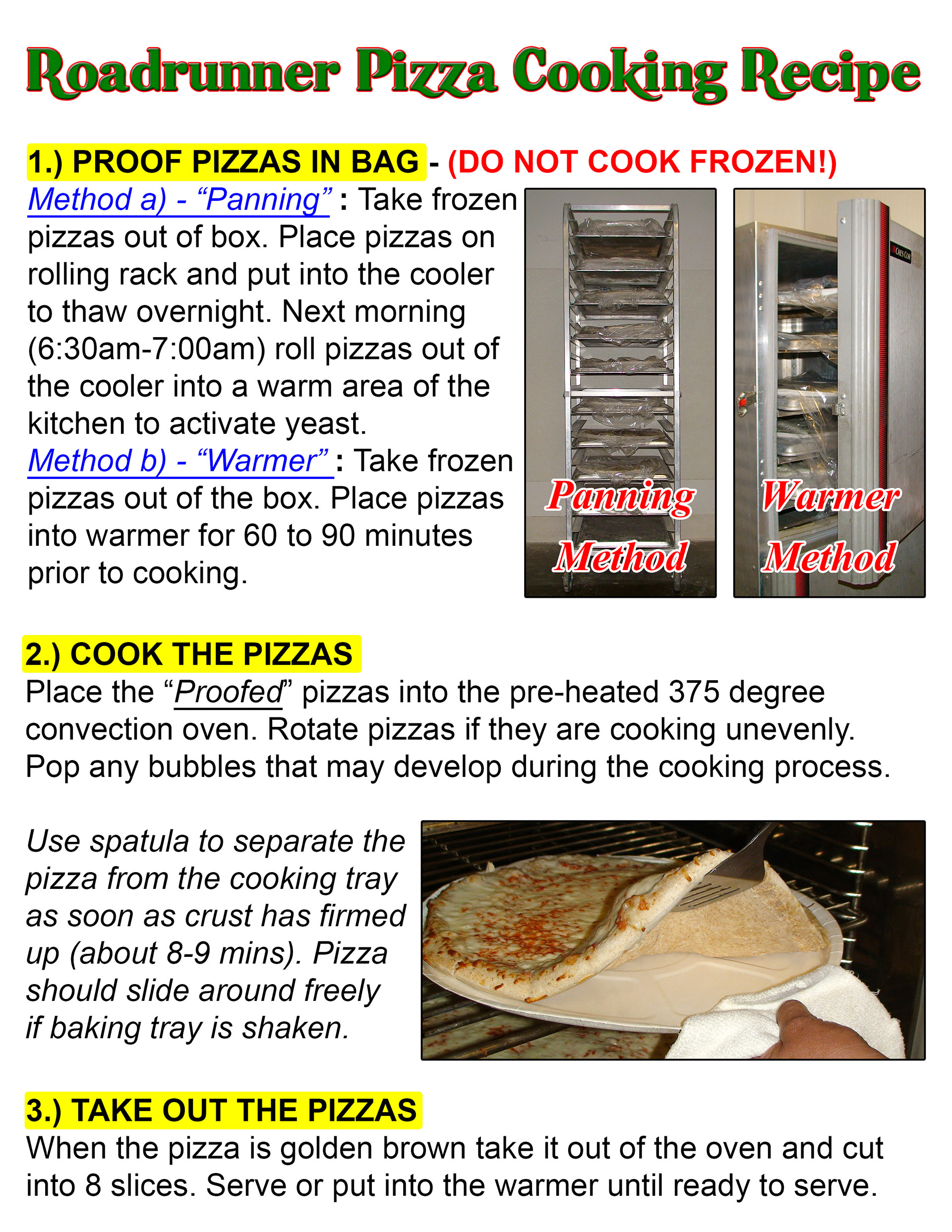 Roadrunner Pizza Cooking Recipe